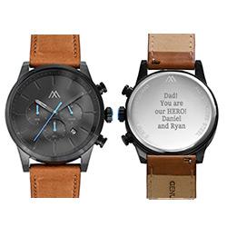 Quest sort kronografherreur med læderrem produkt billede