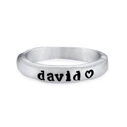 Stabelbar ring med navn i sølv produkt billede