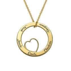 Ingraveret familie halskæde med hjerte i forgyldt sølv produkt billede