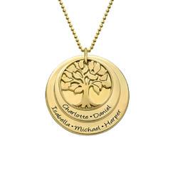 Livets træ halskæde til mor i forgyldt sølv produkt billede