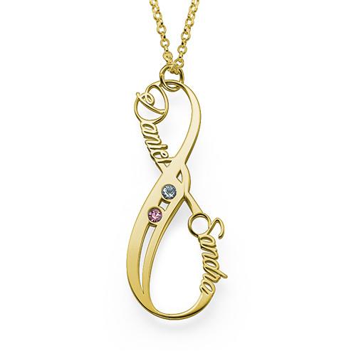 18K Guldbelagt Vertikal Infinity-Halskæde med Månedsten