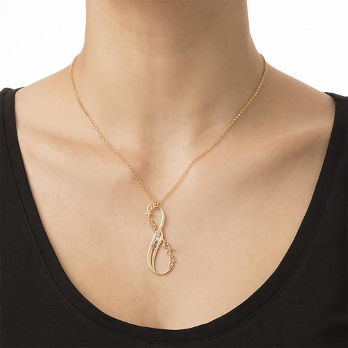 18K Guldbelagt Vertikal Infinity-Halskæde med Månedsten - 2