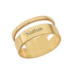 Asymmetrisk ring med navn i 18 karat forgyldt sølv