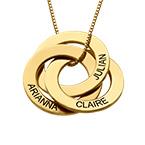 Russisk ring-halskæde med indgravering - Guldbelagt sølv