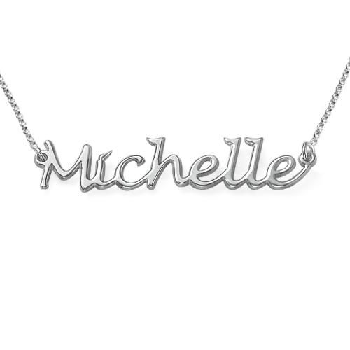 Håndskrevet navnehalskæde i sølv