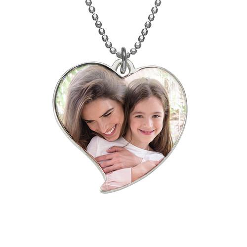 Hjeretformet foto halskæde i sterlingsølv