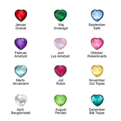 Hjerte halskæde med personligt præg og månedssten - 1