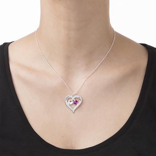 Hjerte halskæde med personligt præg og månedssten - 2