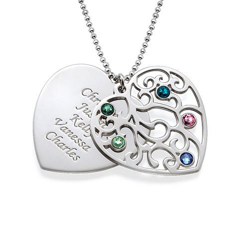Hjerteformet Filigranhalskæde med Månedsten