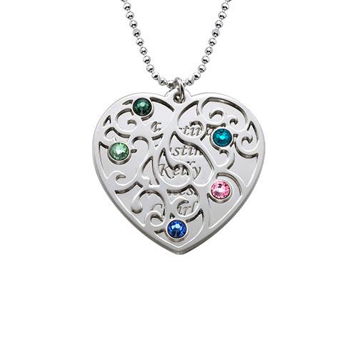 Hjerteformet Filigranhalskæde med Månedsten - 1