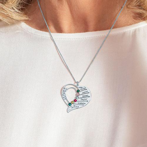 Indgraveret mor halskæde med månedssten - 5