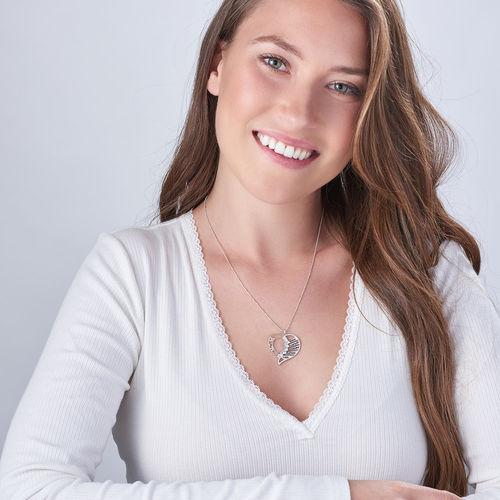 Indgraveret mor halskæde med diamant i Sterling sølv - 1