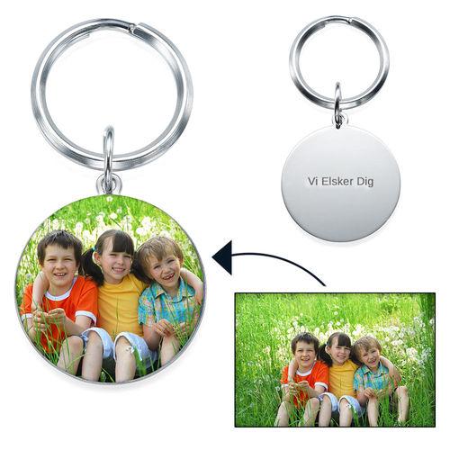 Indgraveret nøglering med billede - rund