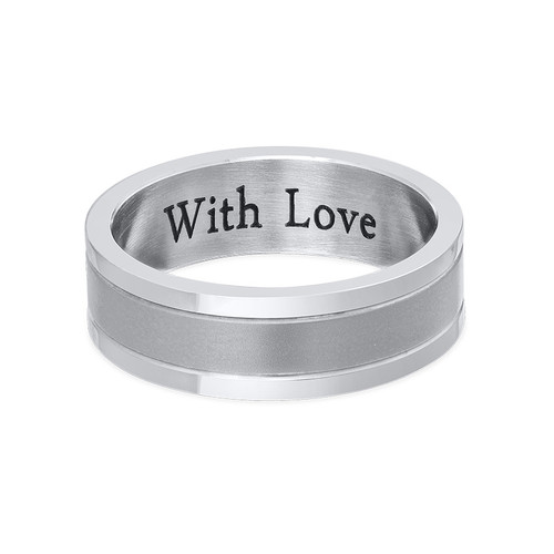 Indgraveret ring til mænd i rustfrit stål - 1