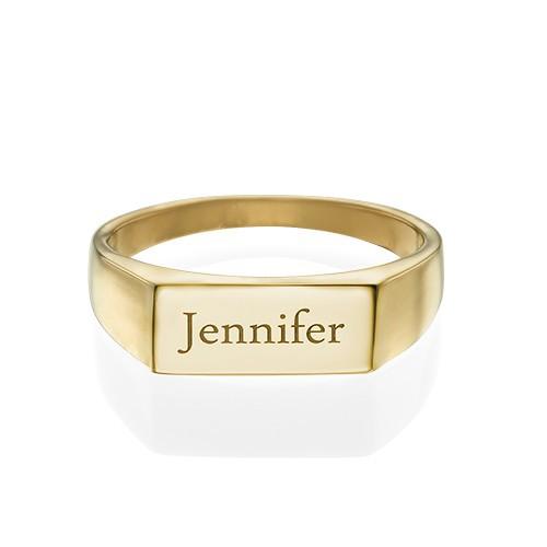 Indgraveret signet ring i forgyldt Sterling sølv - 1