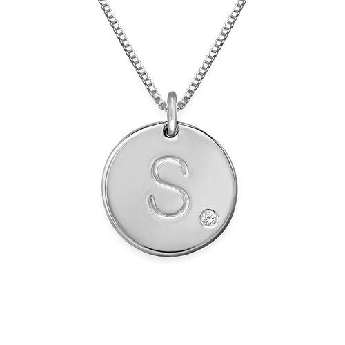 Initial diamant halskæde med bogstav i Sterling sølv