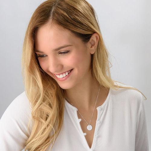 Initial diamant halskæde med bogstav i Sterling sølv - 1