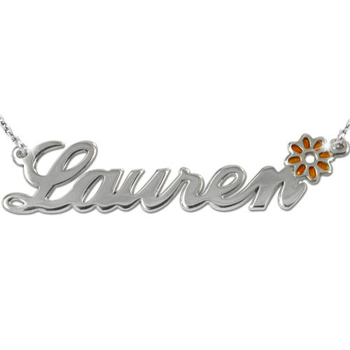 Navnekæde i sølv med farvecharm - 2