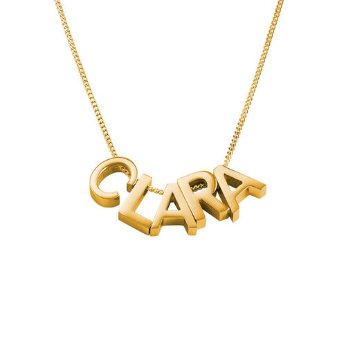 Personlig bogstav halskæde med guldbelægning