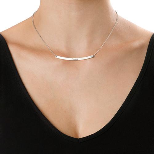 Personlig halssmykke med vandret sølvstav - 1