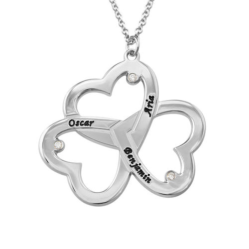 f14593e7291 Personlig triple-hjertehalskæde med diamanteri Sterling sølv | Min ...