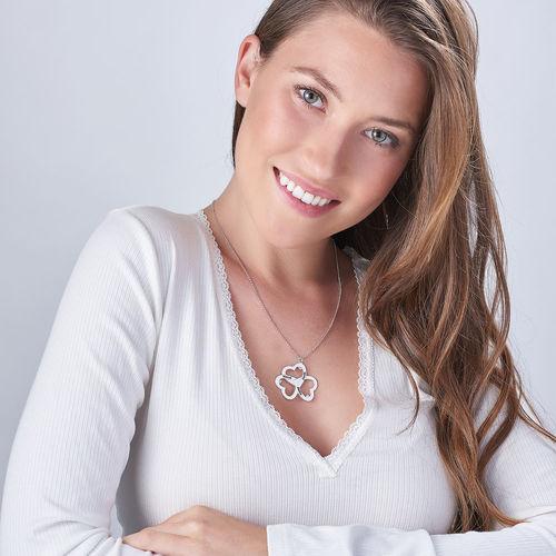 Personlig triple-hjertehalskæde med diamanteri Sterling sølv - 1