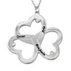 Personlig triple-hjertehalskæde med diamanteri Sterling sølv