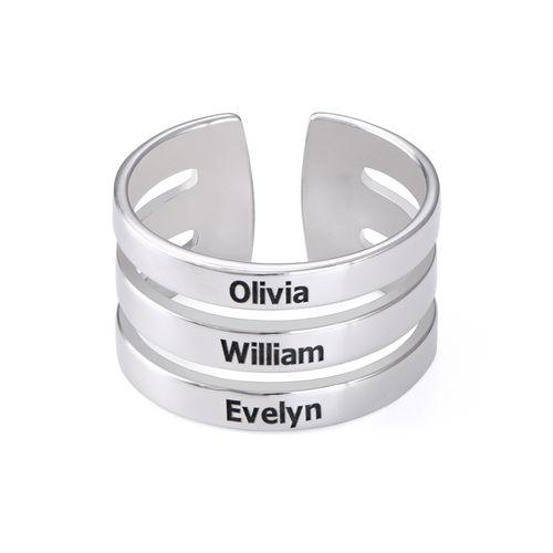 Ring med tre navne i sølv - 1