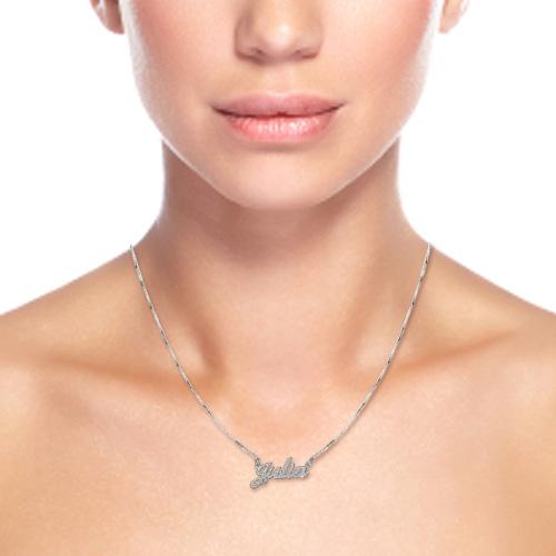 Diamant-cut  navnehalskæde i sterlingsølv - 1