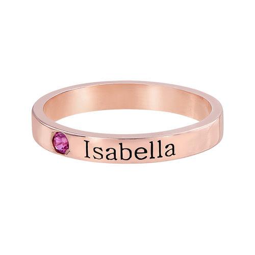 Stabelbar ring med navn og månedssten - 18 karat rosaforgyldt sølv - 1