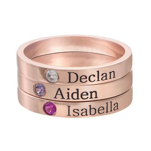 Stabelbar ring med navn og månedssten - 18 karat rosaforgyldt sølv - 2