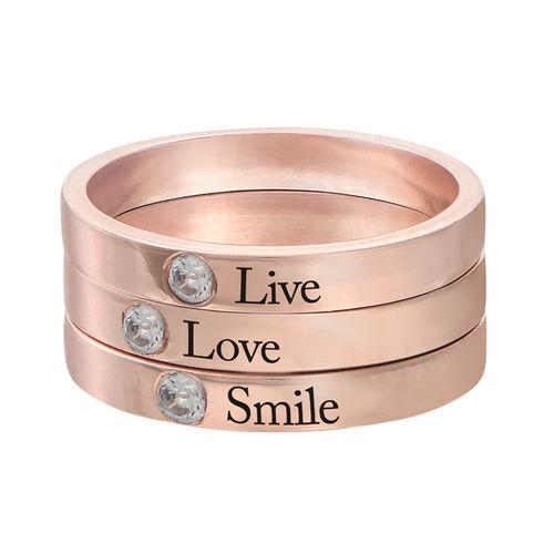 Stabelbar ring med navn og månedssten - 18 karat rosaforgyldt sølv - 3