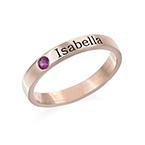 Stabelbar ring med navn og månedssten - 18 karat rosaforgyldt sølv
