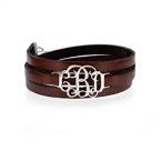 Wrap around-armbånd i læder med monogram