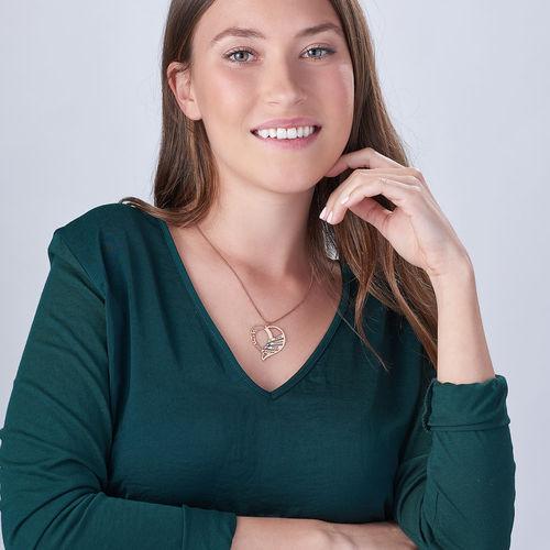 Indgraveret mor halskæde med månedssten - Rosaforgyldt - 3
