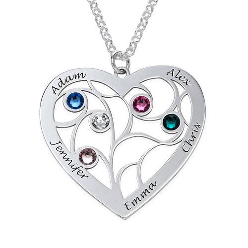 Hjerteformet livets træ halskæde med månedssten i sterlingsølv