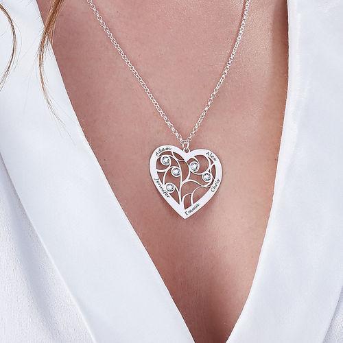 Hjerteformet livets træ halskæde med månedssten i sterlingsølv - 3