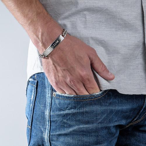 Klassisk ID-Armbånd til Mænd i Rustfrit Stål - 1