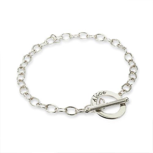 Personlig armbånd i sølv med overligger - 1