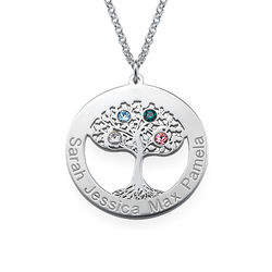 Livets træ halskæde med fødselssten i sølv product photo