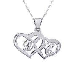 Kæreste halskæde med hjerte vedhæng og initialer i sølv product photo