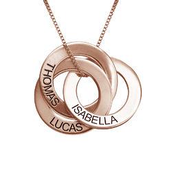 Russisk ring-halskæde med indgravering - rosaforgyldt product photo