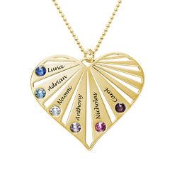 Familie halskæde med månedssten i 10 karat guld product photo