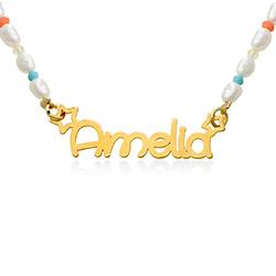 Perlehalskæde til piger med navn - forgyldt product photo
