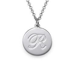 Initial halskæde med kursiv skrift i sølv product photo