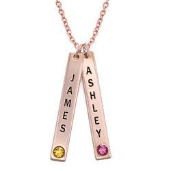 Personaliseret stavsmykke i rosaforgyldt sølv med Swarovski-sten product photo