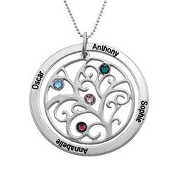 Livets træ halskæde med månedssten i 10 karat hvidguld product photo