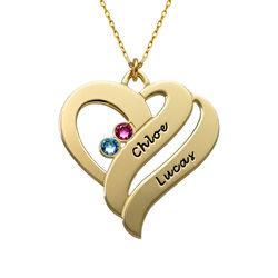 To hjerter banker som èt-halskæde med fødselssten i 10 karat guld product photo
