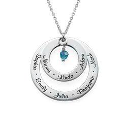 Månedstens-Cirkelhalskæde i Sølv for Bedstemødre product photo