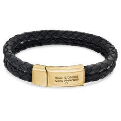 Indgraveret armbånd til mænd i sort læder med guldplatering product photo